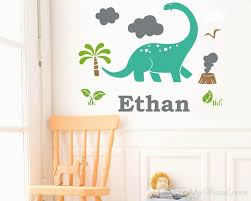 Dinosaur With Personalized Name Decal Boys Name Decal Customized Boy Wall Decal Clouds And Grass