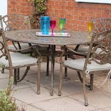 azur 137cm metal round garden dining