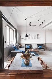blue tiles and teak inside md apartment