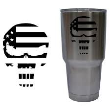 Punisher Skull American Flag Military Decal For Yeti 30 Oz Rambler Tumbler Cup Decal Only Glossy Permanent Vi Cup Decal Yeti Cup Designs Decals For Yeti Cups