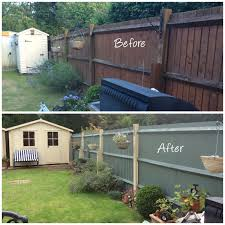 Brightening Up The Garden With Cuprinol Shades Country Cream Wild Thyme Garden Fence Paint Painted Garden Sheds Fence Paint Colours