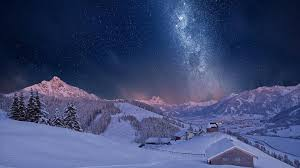 milky way sky over winter village hd