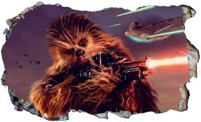 Amazon Com Star Wars Han Solo Chewbacca V998 Magic Window Wall Sticker Self Adhesive Poster Wall Art Size 1000mm Wide X 600mm Deep Large Home Kitchen