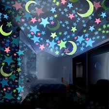 100pc 3d Star And Moon Energy Storage Fluorescent Glow In The Dark Luminous On Wall Stickers For Kids Room Living Room Decal 16 Wall Stickers Aliexpress
