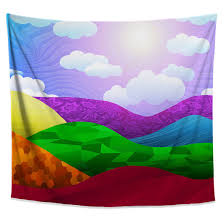 Rainbow Valley Tapestry Colorful Pattern Hills Wall Hanging Decor Chil Jud Hayden Art