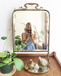 antique small stand up mirror