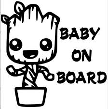 Groot Baby On Board Decal Cars Cars Decals Monogram Decal Baby Groot Tracing Art