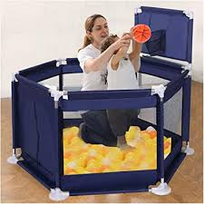 Amazon Com Baby Playard Ball Pit Tent Portable Playpen Fence With Basketball Hoop Balls Indoor And Outdoor Play Area Safety Household Blue From Us Sports Outdoors