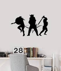 Vinyl Wall Decal Vikings Silhouette Scandinavian Warriors Boys Room De Wallstickers4you