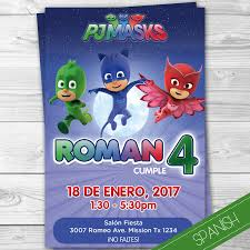 Pj Masks Invitacion Espanol Spanish Invitation Heroes En