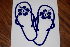 Flip Flop Decal Flip Flop Sticker Sandal Decal Hibiscus Decal Hawaiian Decal Beach Decal Summer Decal Hibiscu Summer Decal Vinyl Decals Hibiscus Flowers
