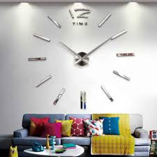 Modern Diy 3d Mirror Surface Large Number Wall Clock Stickers Home Decor Gold Silver Black Red Wall Stickers Aliexpress