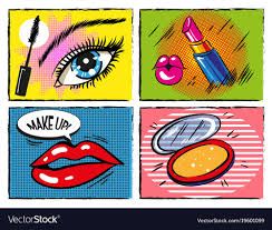 pop art makeup and cosmetic vector image