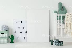 Mockup Of White Empty Poster Next To Cradle In Kids Room Interior With Cactus Motif Real Photo Stock Photo Download Image Now Istock