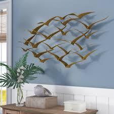 Beachcrest Home Beautiful Patterned Metal Flocking Birds Wall Decor Reviews Wayfair