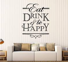 Vinyl Wall Decal Quote Words Eat Drink And Be Happy Kitchen Decor Stic Wallstickers4you