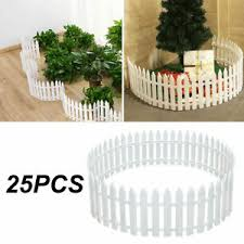 25pc White Plastic Picket Fence Miniature Fairy Garden Border For Xmas Tree Lawn Ebay