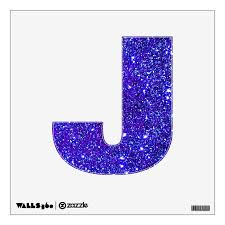 Blue Purple Glitter Sparkle Wall Decal Letter Abcs Zazzle Com