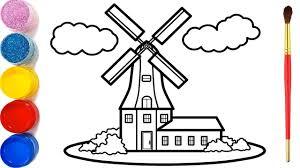 Vẽ tranh nhà cối xay gió và tô màu cho bé   Dạy bé vẽ