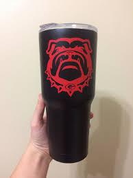 Uga Georgia Bulldog Tumbler Yeti Decal Red Black Diy Gift Cameo Projects Georgia Bulldogs Homemade Gifts
