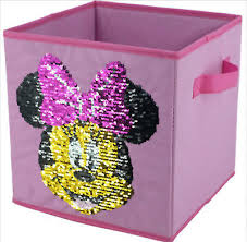 Disney Minnie Mouse Reversible Sequin Storage Bin Cube Collapsible Kids Room New Ebay