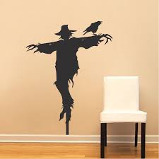 Scarecrow Decal Mural Design Halloween Scarecrow Decals Crow Halloween Decoration Halloween Party Decor Trendy Wall Designs