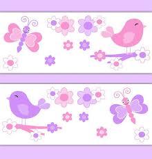 Girl Nursery Decor Butterfly Chickadee Bird Wallpaper Border Decals Baby Wall Art Pink Purple Kids Room Childrens Floral Bedroom Stickers New Decorating Ideas