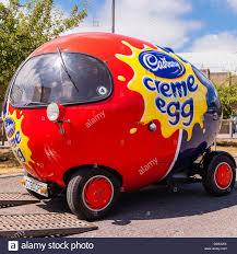 The Cadbury Creme egg car at the National Motor Museum at Beaulieu ...