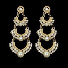 chandelier hanging long earrings gold