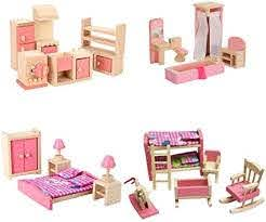 Amazon Com Wooden Dollhouse Furniture Set Including Kitchen Bathroom Bedroom Kid Room For Dollhouse Pink Color Toys Games