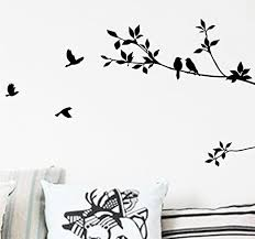 Amazon Com Bibitime Black Tree Branch Wall Decal With Birds Art Stickers Living Room Tv Background Vinyl Mural Nursery Kids Room Decor Home Kitchen