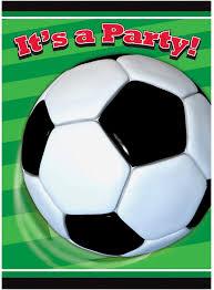 Generique 8 Invitaciones De Cumpleanos Tema Futbol Verdes Talla