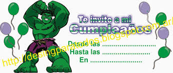 Tarjeta Cumpeanos De Hulk En Cdr Hacer Invitaciones De