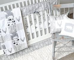 baby crib bedding set gray woodlands