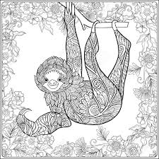 Coloring Page With Lovely Sloth In Forest Coloring Book For