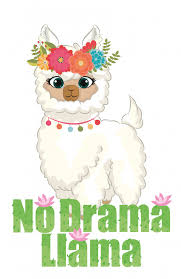 no drama llama chibi quotes graphic flower wreath and cactus