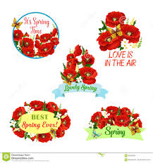vector flowers wreath set for spring time quotes stock vector