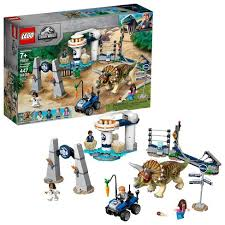 Lego Jurassic World Triceratops Rampage Theme Park Building Set With Toy Dinosaur Figure 75937 Target