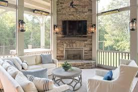 porch screened interior decor fireplace