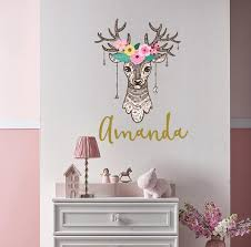 Antler With Name Wall Decal Girl Nursery Antler With Flower Etsy