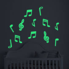 Glow In The Dark Music Notes Removable Wall Stickers Vinyl Wall Art Decals Diy Home Decor Wallsymbol Com