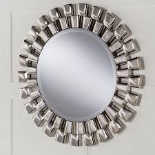 contemporary round wall mirror chrome