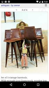 vintage leather barstools wrought iron