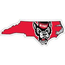 Nc State Wolfpack State Outline Wolfhead Decal Red And White Shop