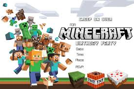 Free Printable Minecraft Birthday Party Invitation Http