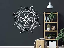 Amazon Com Compass Rose Wall Decal Nautical Compass Vinyl Sticker Decals Compass Navigate Ship Living Room Bedroom Decoration Compass Wall Art Compass Boy Nursery Decor Nn43 Handmade