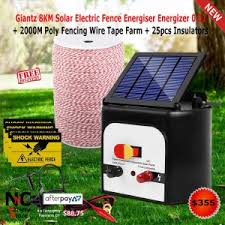 Giantz 8km Solar Electric Fence Energiser Energizer 0 3j 2000m Poly Fencing Wire Tape Farm 25pcs Insulators Nice N Cheap Variety Store