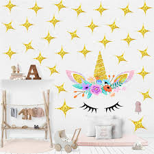 Cartoon Cute Flower Unicorn Gold Stars Wall Sticker Wallpaper Diy Vinyl Home Wall Decal Kid Living Room Bedroom Girls Room Decor Wall Stickers Aliexpress