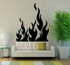 Fire Flame Wall Vinyl Decal Stickers Art Design Beautiful Etsy