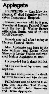 Obituary for Applegale (Aged 97) - Newspapers.com